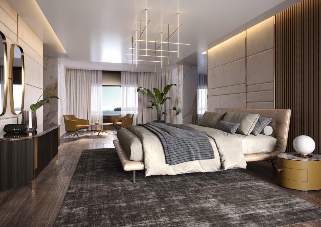 rendering dell'interno di uno yacht con vista totale della camera da letto con letto matrimoniale e sullo sfondo la zona relax