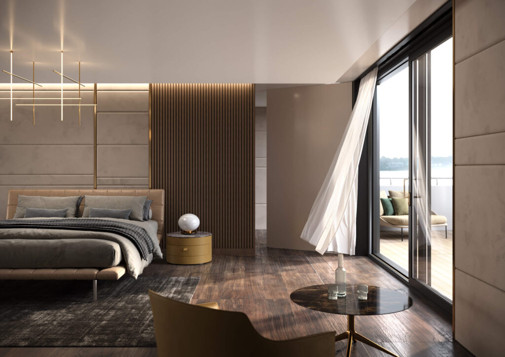 rendering dell'interno di uno yacht dalla zona studio della camera da letto con vista sull'esterno attraverso una grande finestra