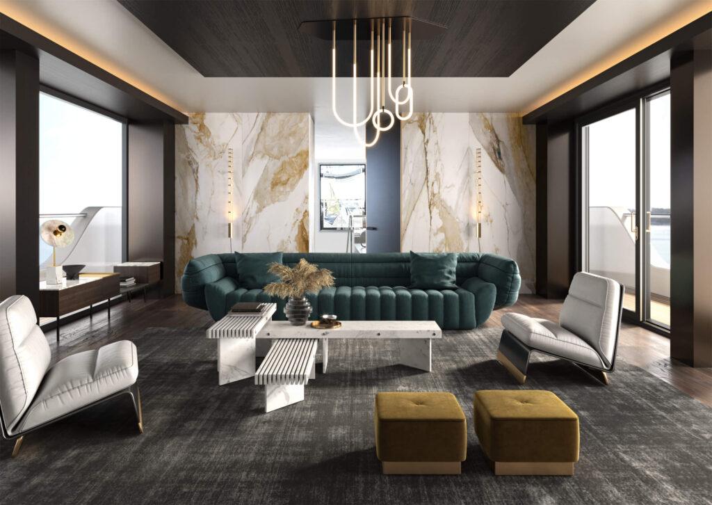 rendering dell'interno di uno yacht dalla zona living arredata con grande divano e poltrone in pelle e tavolo di design