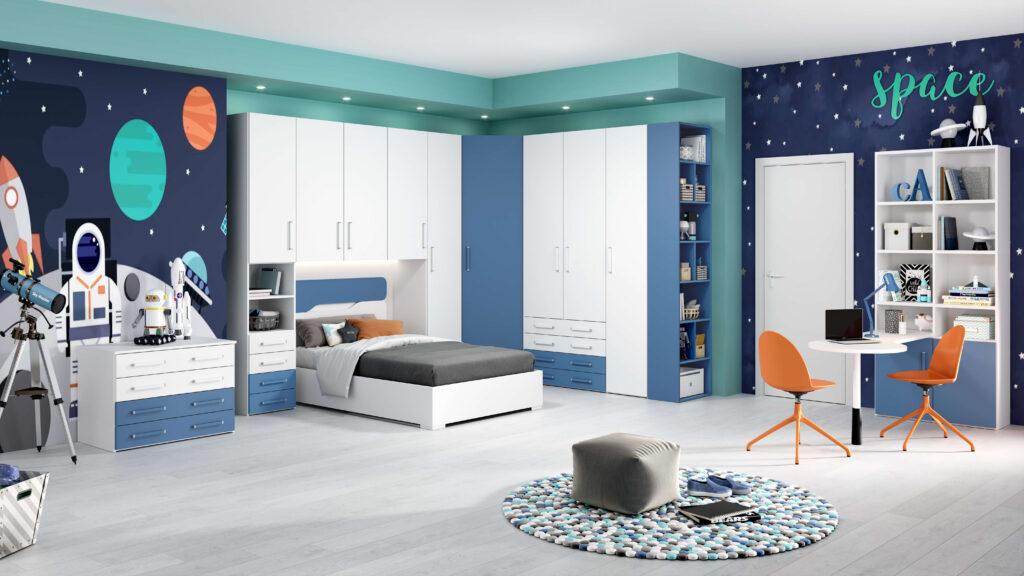 rendering di cameretta moderna con letto da una piazza e mezza e armadiatura ad angolo e scrivania