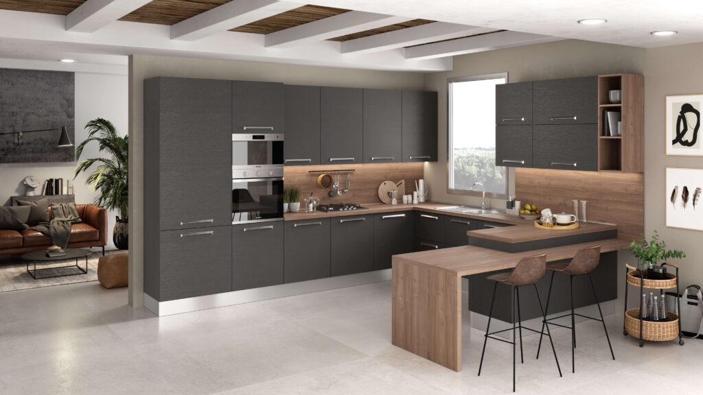 rendering di cucina di mondo convenienza ad angolo con ante grigio scuro e penisola legno