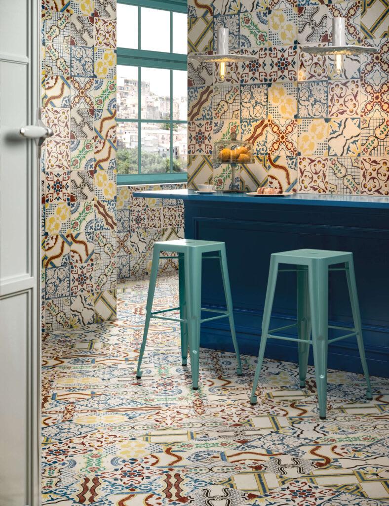 rendering di pavimento e rivestimento in ceramica con bancone e sgabelli