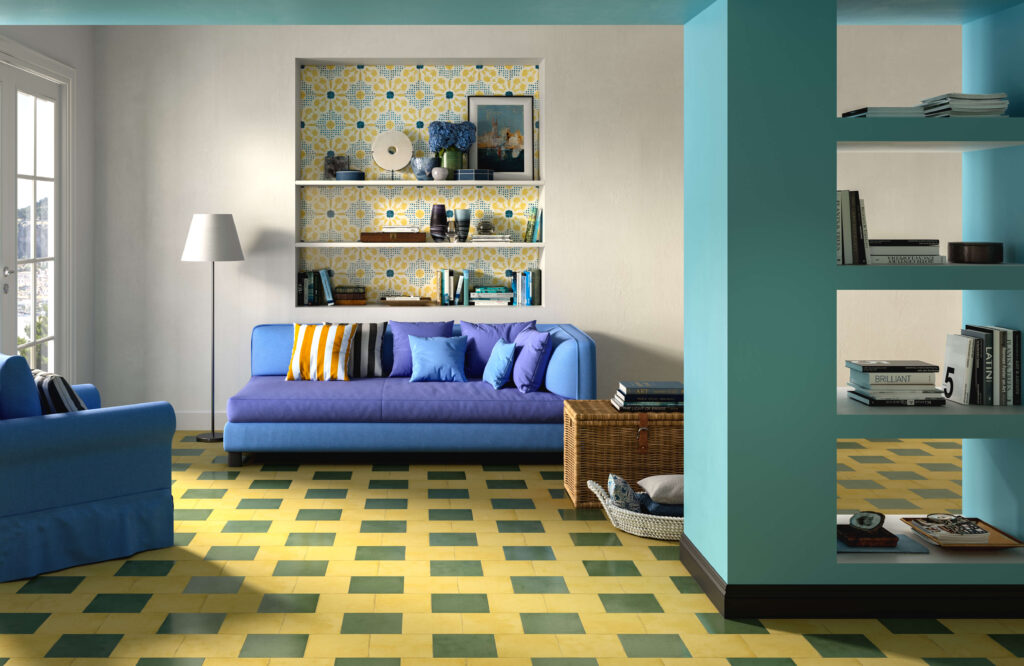 rendering di pavimento e rivestimento in ceramica con divano e libreria
