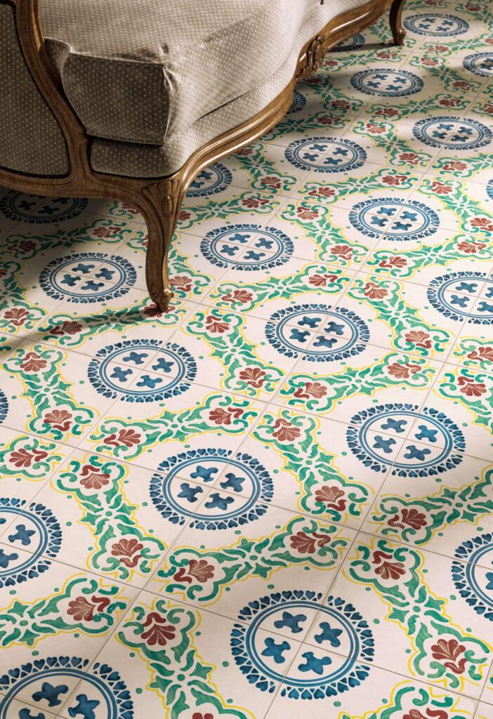 dettaglio di rendering di pavimento in ceramica con divano