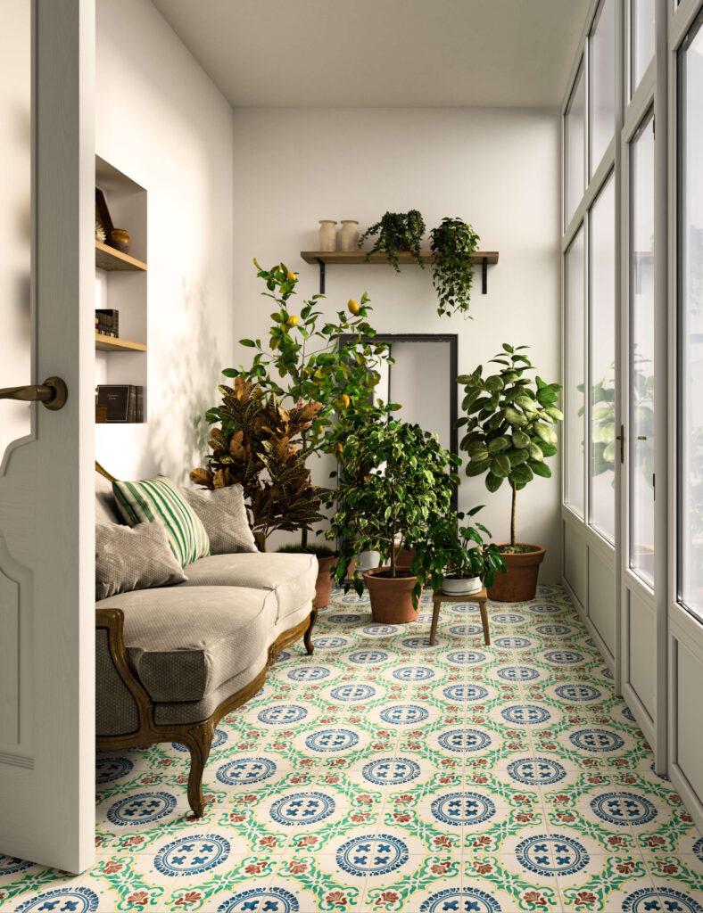 rendering di pavimento in ceramica con divano e piante e vetrata