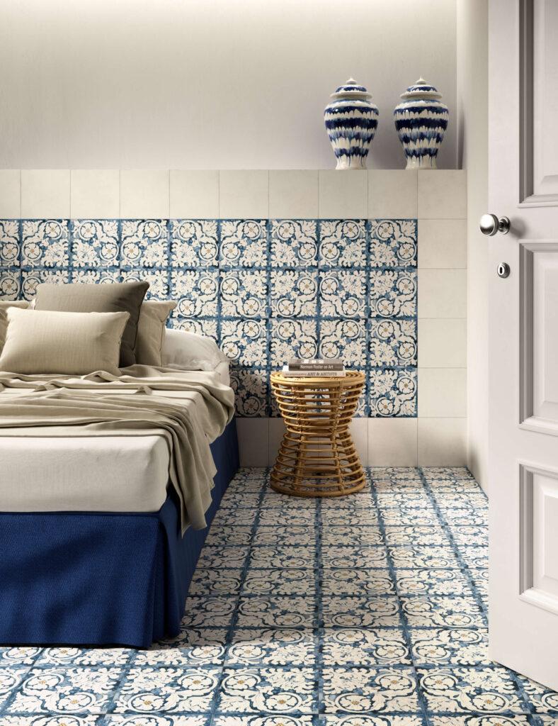 rendering di pavimento e rivestimento in ceramica con letto comodino in vimini