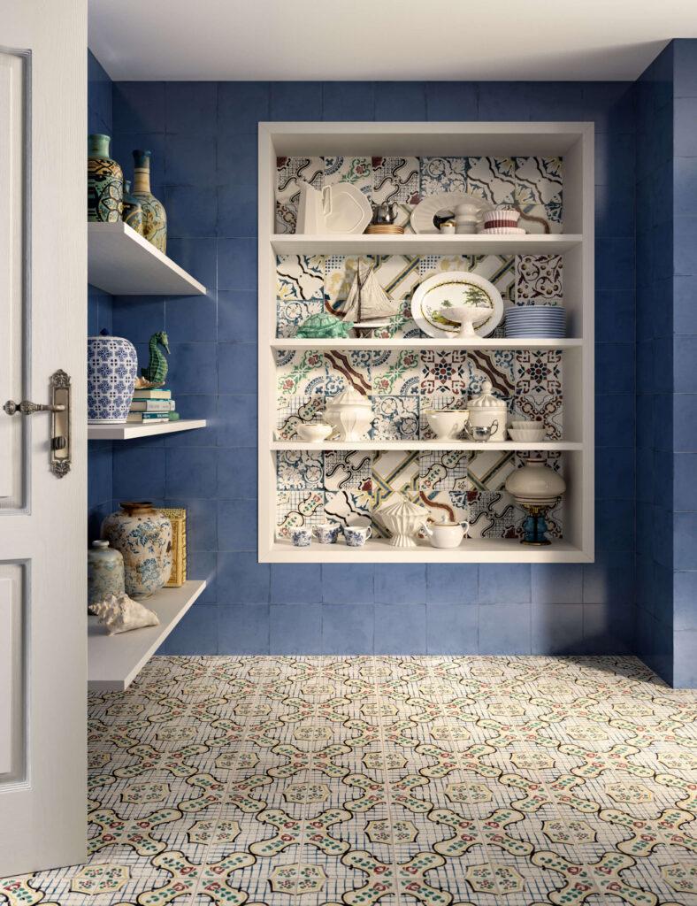 rendering di pavimento e rivestimento in ceramica con nicchia e mensole