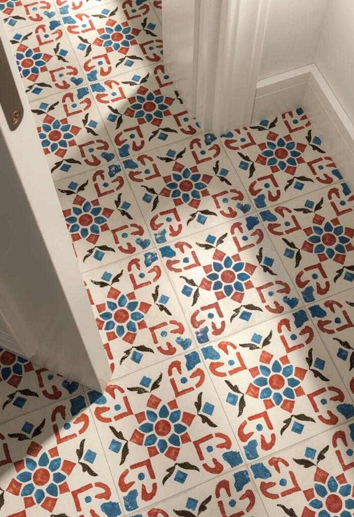dettaglio di rendering di pavimento in ceramica con porta aperta