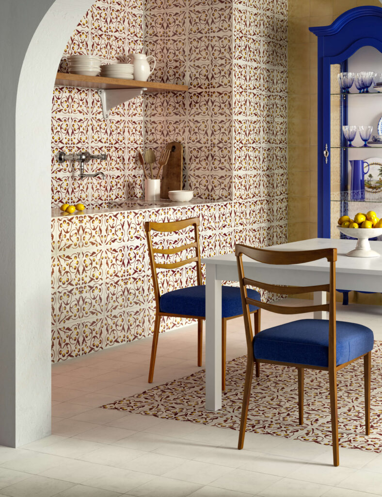 rendering di pavimento e rivestimento in ceramica con tavolo e sedie e credenza